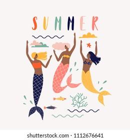 Summer vector illustration with mermaid under the sea