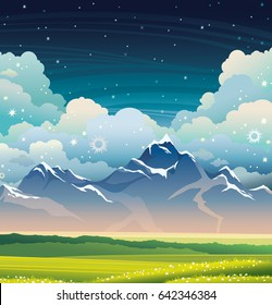 Summer vector illustration - night landscape with mountains, green grass and blooming flowers on a cloudy sky.