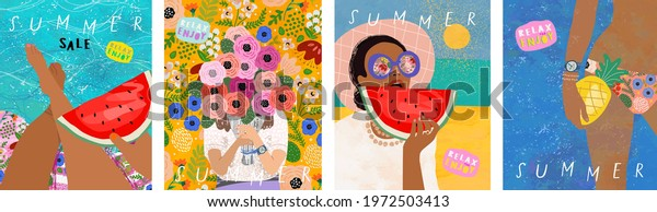 Summer! Vector illustration of sunny cards, tanned woman with watermelon and pineapple by the sea and pool and a bouquet of flowers in her hands. Drawings for background, card and cover