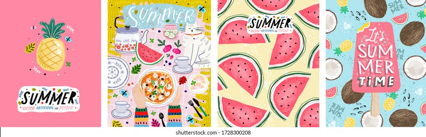 Summer! Vector illustrations of a picnic on the grass, a cute pineapple fruit, pink ice cream and a pattern of watermelons. Drawings for poster, background or postcard.