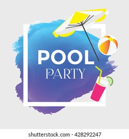 Summer Vector. Pool Party Poster Design. Compatible with ai, cdr, jpg, png, svg, pdf, ico and eps.