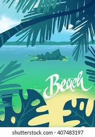 Summer vector poster beach and palm leaves