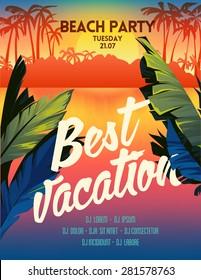 Summer vector poster sunset beach party