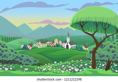 Summer vector scene with village and tree in fields.