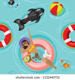 Summer vector seamless pattern. A girl with dogs is swimming and sunbathing on an inflatable circle near an inflatable shark and a rescue kopug. On a light blue background with a beach ball
