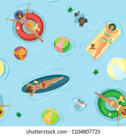 Summer vector seamless pattern. Girls with dogs swim and sunbathe on an inflatable mattress, surfboard and inflatable circles. On a light blue background with beach balls