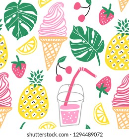 Summer vector seamless pattern. Line cute doodle background