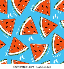 Summer vector seamless pattern with red watermelon slices on blue background. Cute and funny hand drawn fruits for textile or print on any surface