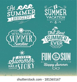 Summer Vector Set | Happy Summer, Summer Vacation, Fun in the Sun, Every Summer Has A Story, Let Summer Begin, Welcome Summer Sunshine