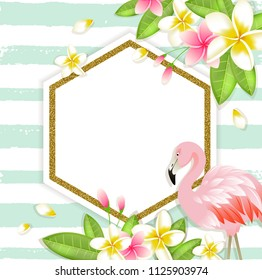 Summer vector tropical background with plumeria flowers, green leaves and pink flamingo.
