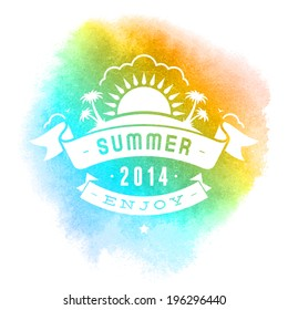 Summer vector typography. Summer beach vacation and tropical paradise watercolor vector poster or background.