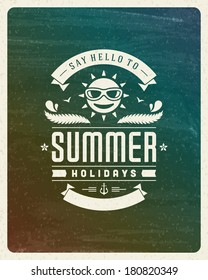 Summer vector typography. Summer holidays message for your design watercolor vector background.