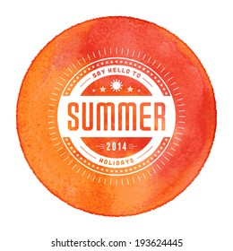 Summer vector typography. Summer holidays message for your design watercolor vector poster or background.