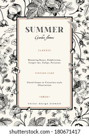 Summer vertical vector vintage elegant card with black garden flowers. Roses, forget-me, delphinium on beige background with golden frame. Design template.