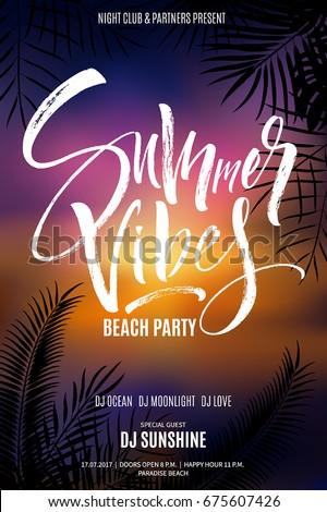 Summer Vibes Beach Party Flyer Sunset Stock-Vektorgrafik (Lizenzfrei ...