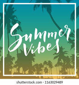 Summer Vibes. Calligraphic inspirational quote poster on tropical summer beach background. Mighty coconut trees and romantic sunset sky. Bold trendy modern hand lettering in vector