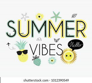 Summer vibes. Cute  vector illustration. Sun, sea. Tropical island. Vacation, recreation, holiday, travel