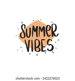 Summer Vibes Hand drawn Brush lettering composition.  - Shutterstock ID 1422276023