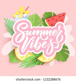 Summer Vibes hand lettering on paper cut background with palm leaves, watermelon and citrus, tropical 3d design. Vector illustration. Holiday typography design.