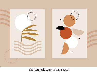 Summer vibes pastel beige abstract vector postcard geometric shapes fruits sun modern warm pallet contrast minimalism template