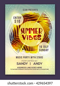 Summer Vibes Template, Summer Party Banner, Musical Party Flyer or Club Invitation design, Creative abstract background with palm leaves.