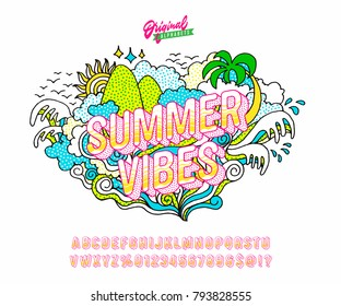 'Summer Vibes' Vintage Bright and Happy Sans Serif Hipster Alphabet. Retro Typography with Texture and Good Vibes. Vector Illustration.