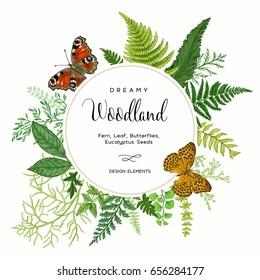 Summer vintage card. Leaves of ferns and butterflies. Round frame. Botanical illustration.  Colorful.