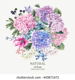 Summer Vintage Floral Greeting Card with Blooming Hydrangea and garden flowers, botanical natural hydrangea Illustration on white in watercolor style.