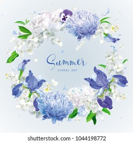 Summer vintage floral round vector composition with blooming Chrysanthemums, blue Irises, Asters, Hydrangeas, Peonies, Apple blossom  and garden flowers. Botanical drawing in watercolor style.