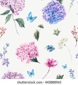 Summer Vintage Floral seamless pattern with Blooming Hydrangea and garden flowers, botanical natural hydrangea Illustration on white in watercolor style.
