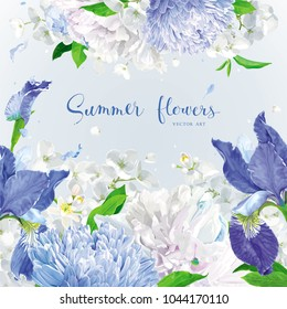Summer vintage floral vector background with blooming Chrysanthemums, blue Irises, Asters, Hydrangeas, Peonies and Apple blossom  and  other  garden  flowers. Botanical drawing in watercolor style