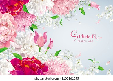 Summer vintage floral vector background with blooming Chrysanthemums, Hydrangeas, Peonies and Apple blossom, garden flowers in watercolor style for invitations, cards, weddings, birthday, holidays.