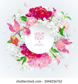 Summer vintage floral vector composition with blooming Chrysanthemums, Asters, Hydrangeas, Peonie, Apple blossom and garden flowers with paper label. Botanical drawing in watercolor style.