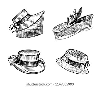 Summer vintage Hats collection for elegant woman, female and ladies. Retro fashion set. Breton Panama, Broad-brim, Slouch Cloche, Poke bonnet. Hand drawn engraved vintage sketch