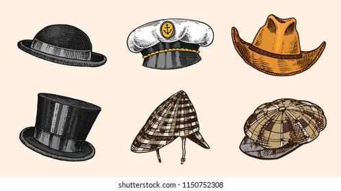 Summer vintage Hats collection for elegant men,woman, female and ladies. Fedora Derby Deerstalker Homburg Bowler Straw Beret Captain Cowboy Porkpie Boater. Retro fashion set. English style. Hand drawn