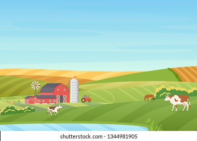 Summer warm weather farm coutryside landscape with eco cottage, barn, windmill, tractor, silage tower, cow, horse, green and orange fields near the blue clean lake flat vector illustration.