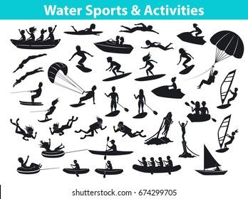 Summer water beach sports, activities Silhouette set. People windsurf, surf, jet ski, stand up paddle, snorkel, dive, ride boat and banana float, fly board, parasail, wakeboard, kitesurf, waterski