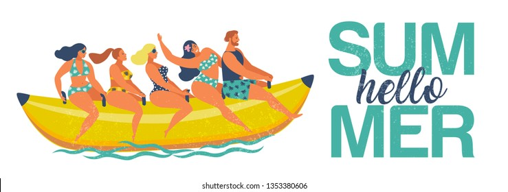 Summer water fun. Man and women ride on a banana boat. Hello summer. Vector illustration of a flat design.