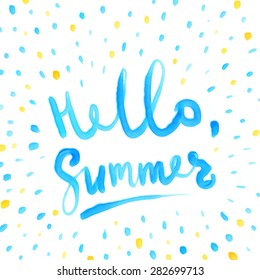 Summer Watercolor Design. Summer Typography Lettering. Aquarelle Style.