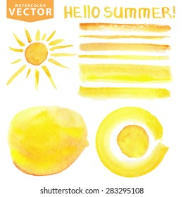 Summer Watercolor hand painting texture brushes,splash,spot,lettering hello summer,sun shine set.Summer Orange,yellow.Warm ,Bright design template.Vintage vector background.Holiday,vacation,artistic