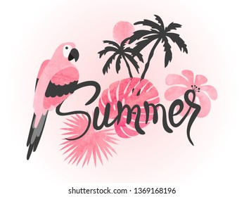 Summer watercolor tropical vector illustration with parrot and palm leaves.
