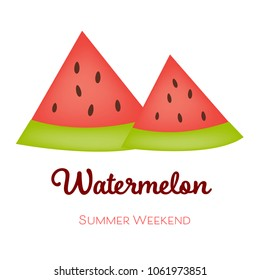 Summer Watermelon Slices on summer weekend.Illustration vector.Holidays concept.