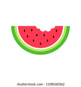 Summer watermelon vector graphic icon for web, logo and other designs. Juicy red watermelon with black seeds.