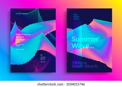 Summer wave poster design. Music flyer with abstract gradient waves.