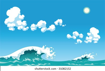 Summer wave. Vector illustration, isolated objects