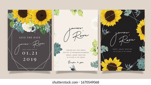 summer Wedding Invitation, floral invite thank you, rsvp modern card Design in sunflower with  leaf greenery  branches decorative Vector elegant rustic template
