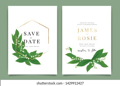 Summer Wedding Invitation template, floral invite thank you, rsvp modern card Design in white lily of the valley and leaf greenery  branches decorative Vector elegant rustic template