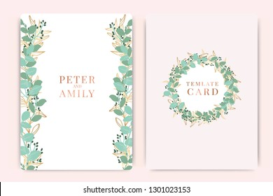 Summer Wedding Invitation themes, floral invite thank you, rsvp modern card Design in  leaf greenery  branches decorative Vector elegant rustic template