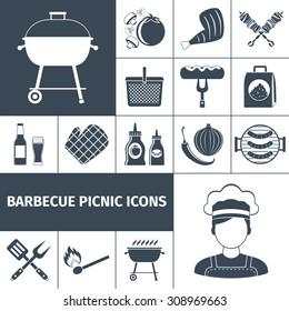 Summer weekend bbq picnic backyard  party with family and friends black icons set abstract vector isolated  illustration. Editable EPS and Render in JPG format