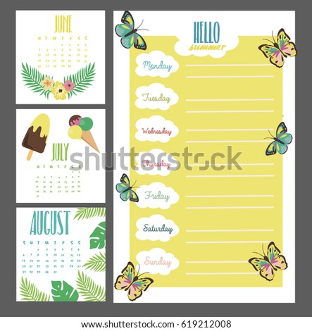 summer weekly daily planner template organizer stock vector royalty